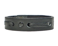 "3/4"" Single Weave Black Leather Cuff Bracelet"
