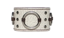 "1 3/4"" Vintage White Leather Ring Cuff"