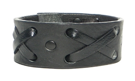 "1 1/4"" ""X"" Weave Cuff /Black hardware on Black leather"
