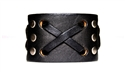 "1 3/4"" Black Leather ""X"" Weave Cuff"