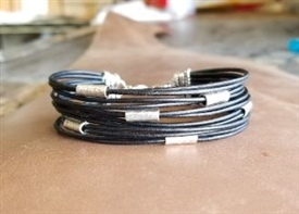 Multi Strand BLACK Leather Cord Bracelet with Silver Beads