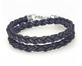 Braided Leather Rope Bracelet - Double Wrap - Black