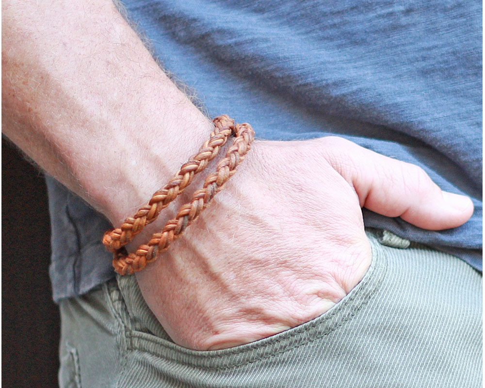Braided Leather Rope Bracelet Double Wrap Natural Tan View Larger Photo