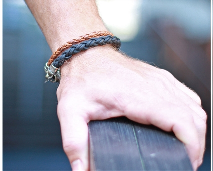 Black Braided Leather Rope Bracelet