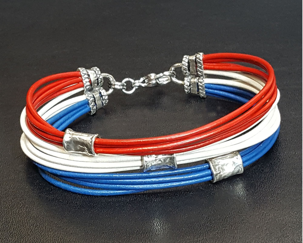 Red White And Blue Leather Cord Bracelet With Silver Beads