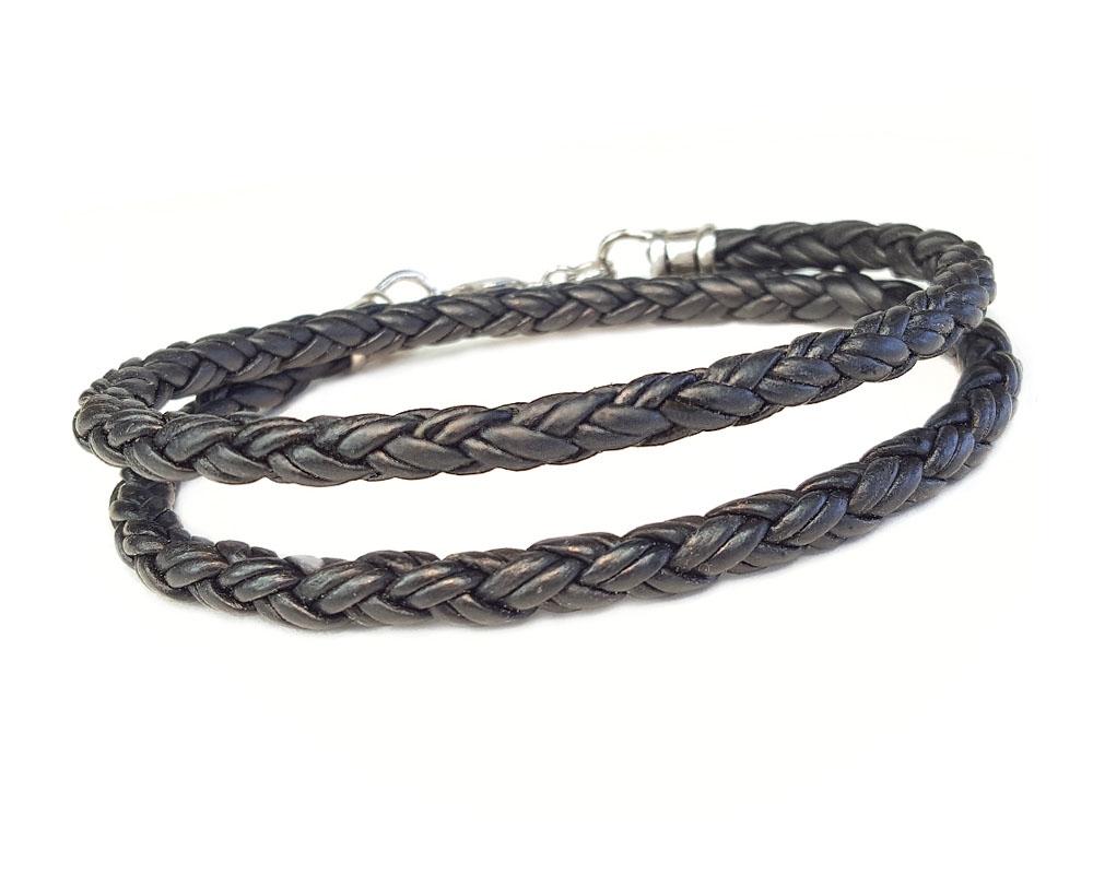 Skinny Black Double Wrap Braided Leather Bracelet