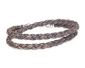 Skinny BROWN DOUBLE Wrap Braided Leather Bracelet