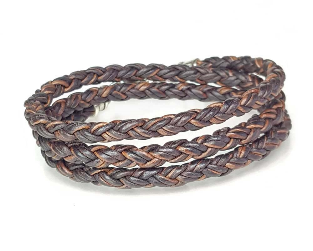 Skinny Brown Triple Wrap Braided Leather Bracelet