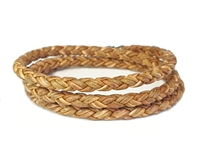 Skinny TAN TRIPLE Wrap Braided Leather Bracelet Natural Tan