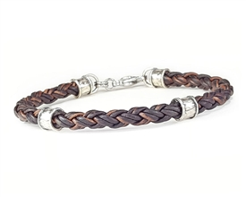 Braided BROWN Leather Bracelet with Sterling Silver Beads