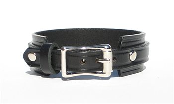 "1"" Wide BLACK Leather Buckle Cuff Bracelet with SILVER Buckle"