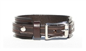 "1"" Wide BROWN Leather Buckle Cuff Bracelet with SILVER Buckle"