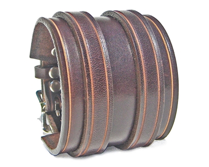 "2 1/4"" BROWN Leather Wristband with SILVER Buckles"