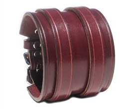 "2 1/4"" BURGUNDY Leather Wristband with Silver Buckles"