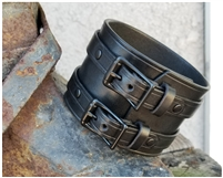 "2 1/4"" Leather Wristband / Two Buckles, Full Wrap Style"