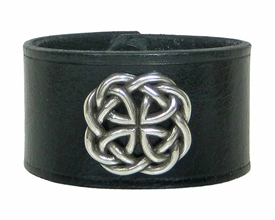 Celtic Round Medalion BLACK Leather Wristband Cuff