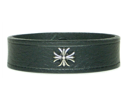 "Iron Cross, Maltese Cross Medallion 3/4"" BLACK Leather Wristband"