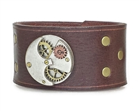 "Steampunk ROUND ""Gears"" 1 1/2"" Brown Leather Wristband"