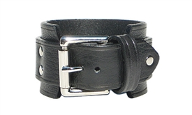 "1 3/4"" BLACK Leather Wristband with SILVER Buckle"