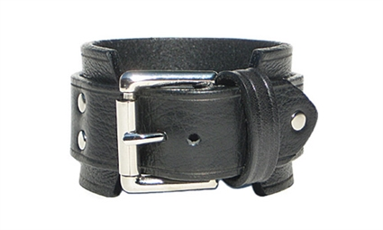"1 3/4"" BLACK Leather Wristband"
