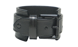 "1 3/4"" BLACK Leather Wristband with BLACK Buckle"