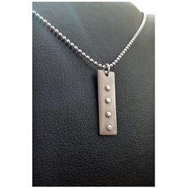 "Riveted Rectangle Pendant on 24"" Sterling Sliver Chain"
