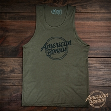 American Bonsai Black Logo Tank - Military Green