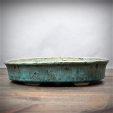 "Hand Thrown Bonsai Pot: 9.25"" x 6.25"" x 1.75"""
