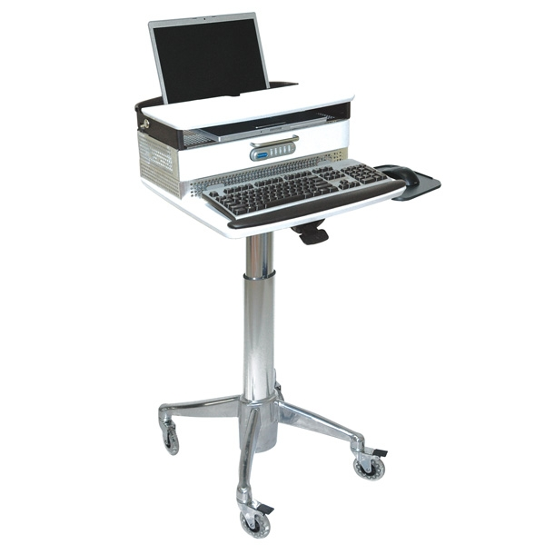 laptop cart with medical drawer up to 18 inches of height adjustment hospital grade - Laptop Cart
