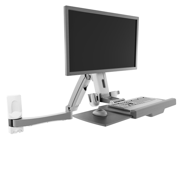 Sit Stand Wall Mount Workstation With A Generous 53 Inch Reach