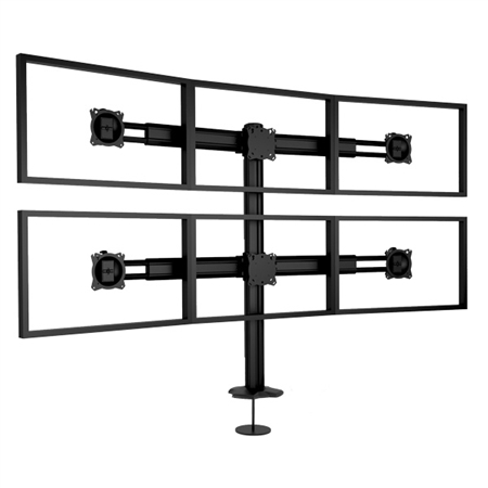 Quad to Hex Multi Monitor Mount for 4 to 6 Monitors