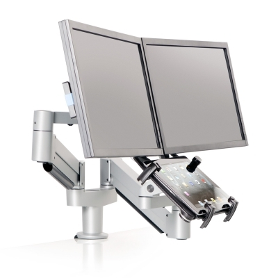 Dual Monitor Mount With Tablet Mount For The Desk Or Tabletop (height  Adjustable)