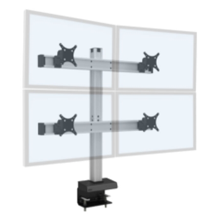 Quad Monitor Mount - 2 over 2 Monitor Desk Mount  (up to 30 lb monitors)