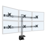Hex Monitor Mount - 3 over 3 Monitor Desk Mount  (up to 30 lb monitors)