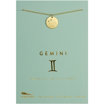 Lucky Feather Gemini Zodiac Necklace