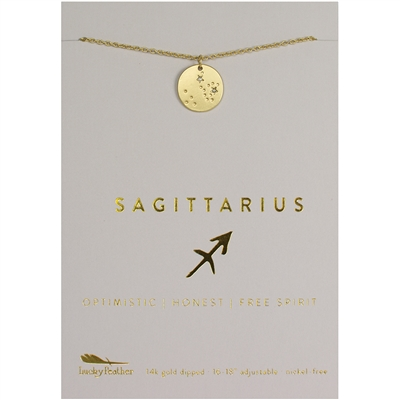 Lucky Feather Sagittarius Zodiac Necklace