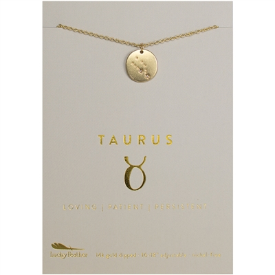 Lucky Feather Taurus Zodiac Necklace