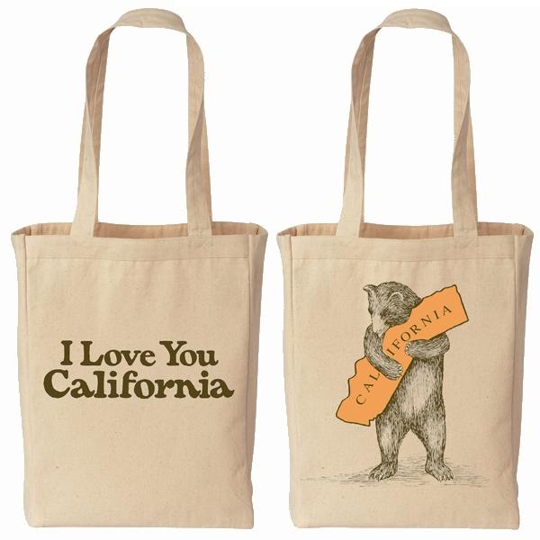 i love you california bear canvas tote bag