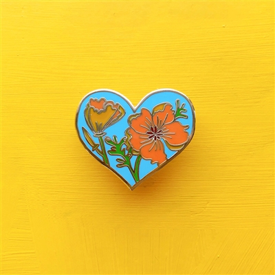 California Golden Poppy Heart Enamel Pin by Brenna Daugherty