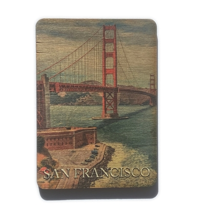 San Francisco Golden Gate Bridge Vertical Wood Magnet