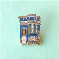 San Francisco Blue Victorian House Enamel Pin by Brenna Daugherty
