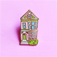 San Francisco Pink Victorian House Enamel Pin by Brenna Daugherty