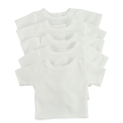 18-inch Doll Clothes - White T-Shirts, 5-Pack - fits American Girl ® Dolls