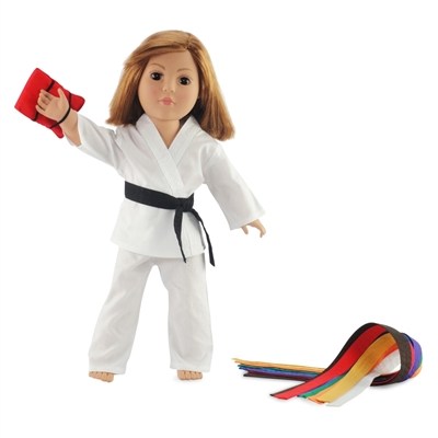 18-inch Doll Clothes - Karate Outfit with Color Belts and Red Kick-Pad - fits American Girl ® Dolls