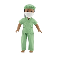 18-inch Doll Clothes - Hospital Scrubs with Surgical Mask and Hair Cap - fits American Girl ® Dolls
