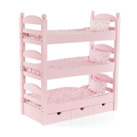 ... 18 Inch Doll Furniture   Stackable Pink Triple Bunk Bed With Storage    Fits American