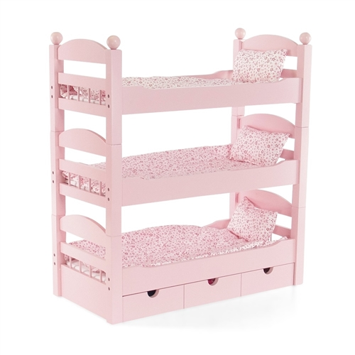 18Inch Doll Furniture Stackable Pink Triple Bunk Bed with