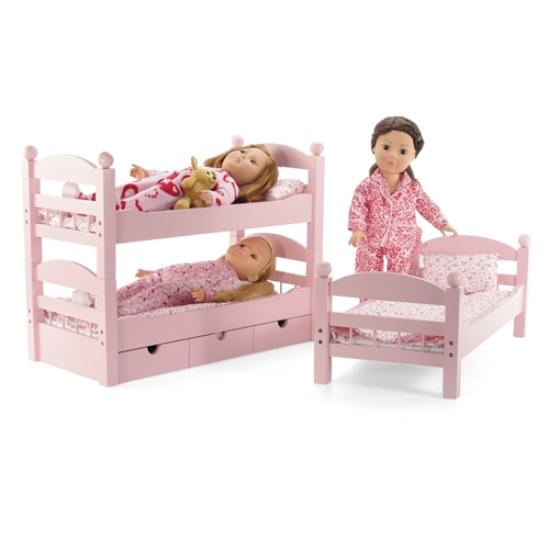 18 Inch Doll Furniture Stackable Pink Triple Bunk Bed With