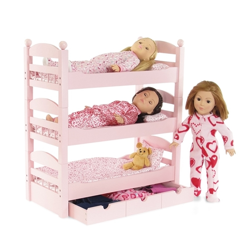 18 Inch Doll Furniture Stackable Pink Triple Bunk Bed With Storage