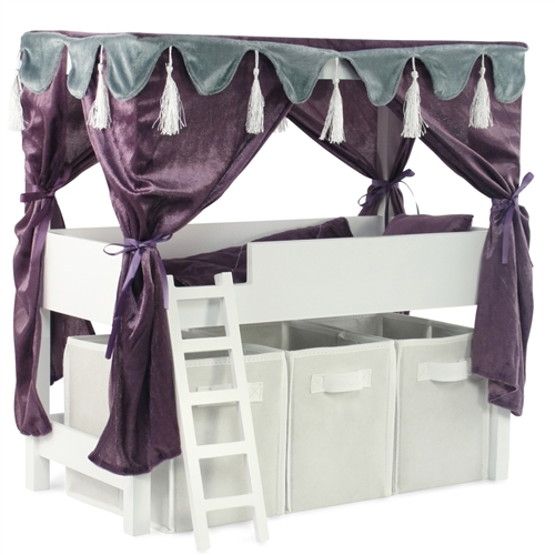 18 Inch Doll Furniture Lofted Canopy Bed With Storage And Ladder